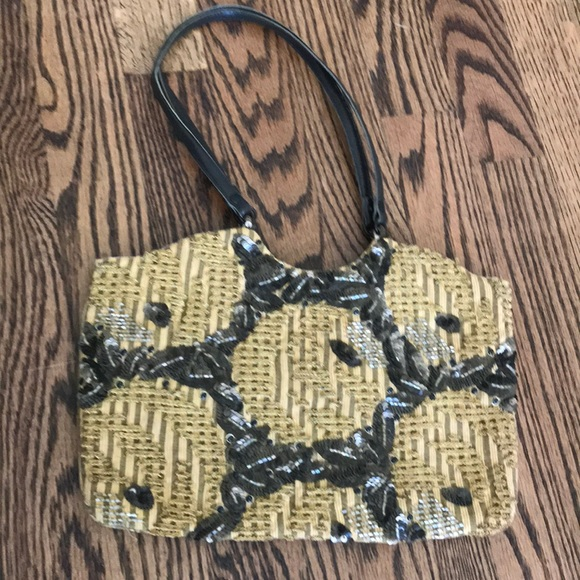 Jamin puech beaded purse yellow and brown